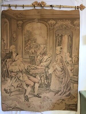 "RARE Antique French Victorian Tapestry 1800s 50""x38"" Wall Hanging -BEAUTIFUL!"