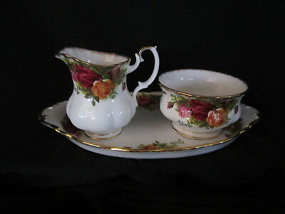 Royal Albert -OLD COUNTRY ROSES - After Dinner Cream and Sugar Tray - England