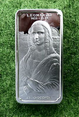 VINTAGE 2oz (925) SILVER ART BAR BY INTERCOINS - 'LEONARDO' - (2 of 3)