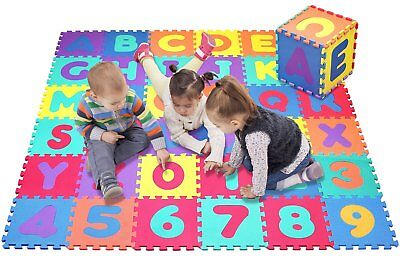 Click N' Play Alphabet and Numbers Foam Puzzle Play Mat 36 Tiles Each Tile Me...