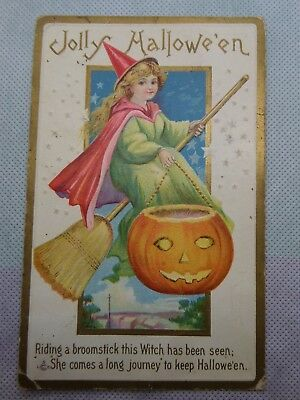 Original Embossed Halloween Postcard 1914 Series 226C  Witch Broomstick