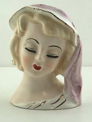 Vintage 1950's Japan Lady Head Vase Blonde in White & Gold Hat Dress Pink Scarf