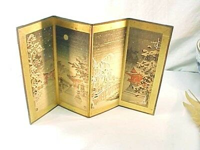 Fabulous Vintage Signed Japanese Miniature Hand Painted Folding Screen Painting