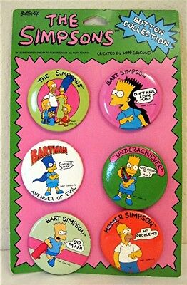 The Simpsons  Set of 6 Pins Pinback Button 1990 Store Display Card Old Stock