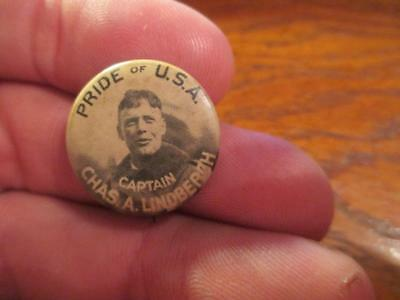 Vintage Captain Charles Lindbergh Pride of the U.S.A. Lindy Chas Pinback Button