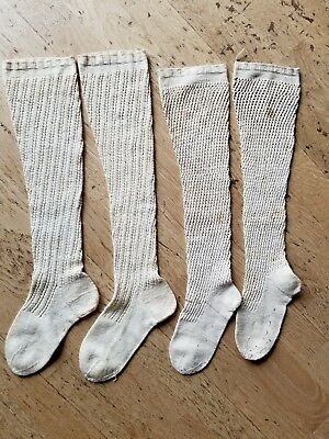 Two Pairs Womens Antique Vintage Long Cotton Knee High Socks Stockings