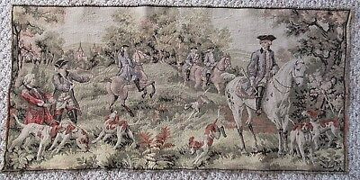 "Vtg Belgian Tapestry Wall Hanging - French Aristocracy Hunting Scene 34"" X 17"""