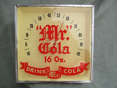 VINTAGE 1950s-1960s MR COLA SODA WATER ADVERTISING THERMOMETER SIGN