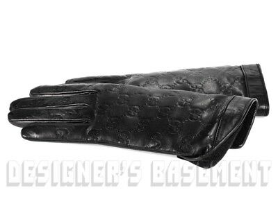 bea7c1a3872 GUCCI black 7 leather GG GUCCISSIMA Cashmere-lined Gloves NWT Authen in Box   560
