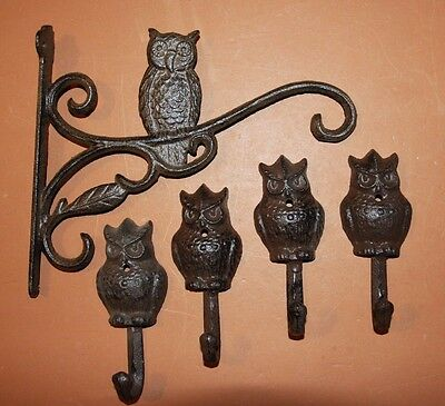 (5), Owl Plant Hanger Garden Hook Set, Rustic, Solid Cast Iron, Owl Decor, 9""
