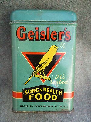 Vintage Geislers Pet Cage Bird Song & Health Food Tin Can
