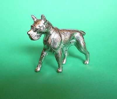 Vintage 1970s Solid Pewter Metal BOXER Dog Figurine in GREAT Condition