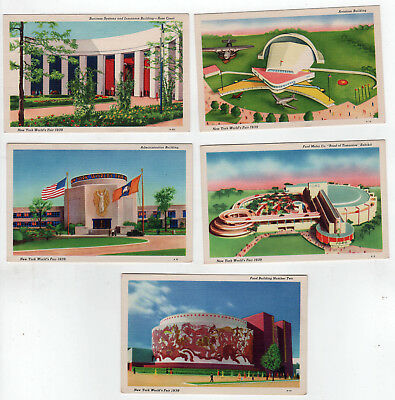 1939 NEW YORK WORLD'S FAIR Postcard Lot PC Aviation Building FORD MOTOR Food