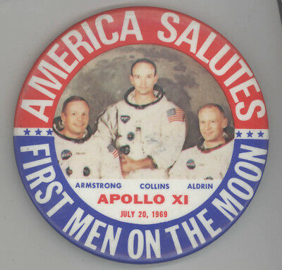 1969 APOLLO XI Pinback BUTTON Badge NASA Astronauts PIN Buzz Aldrin ARMSTRONG