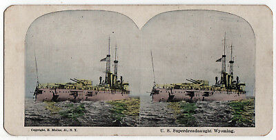 USS WYOMING BB-32 Stereoview SV US NAVY Naval USN Muller MILITARY Battleship