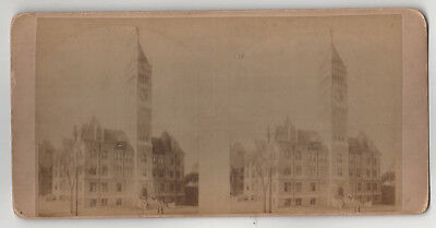 ANTIQUE FALL RIVER MASSACHUSETTS Stereoview SV Photo VINTAGE Building TOWER Mass