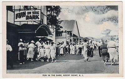 ROCKY POINT RHODE ISLAND PC Postcard WARWICK Amusement Park RI Fun in the Dark