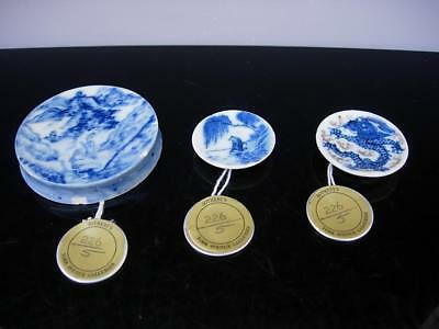 Three Antique Chinese Blue And White Porcelain Snuff Dishes W Sotheby's Label