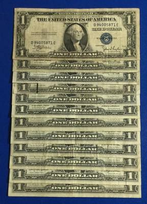 1935C-1957B $1 Blue SILVER Certificates Set of 12 Assorted VG/FINE! Currency