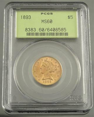 Ms Bu 1893 $5 Liberty Head Half Eagle Gold Coin ~ Pcgs Ms60 In Old Green Holder!