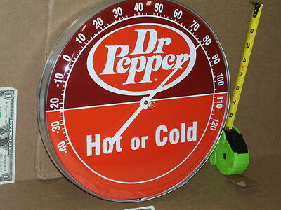 "DOCTOR PEPPER - BIG 12"" ROUND TEMPERATURE SIGN - Texas Soft Drink - SODA POP"