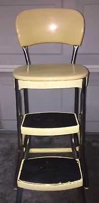 Vtg COSCO Retro Pale Yellow Metal/Chrome Pullout 2 Step Kitchen Stool '50s Chair