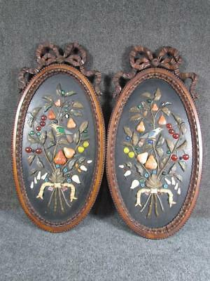 PAIR OF LARGE ANTIQUE 19c. ITALIAN PIETRA DURA WALL PLAQUES, CHINESE INFLUENCE