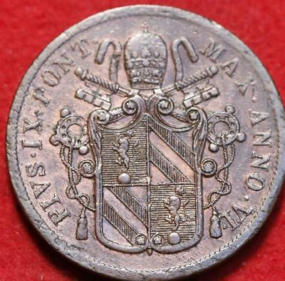 1851 Italy Papal States 5 Baiocchi Foreign Coin