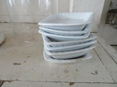 7 FABULOUS Old Vintage WHITE IRONSTONE Rare SQUARE BUTTER PATS Meakin