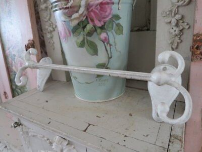 THE BEST Old Vintage TOWEL HOLDER Wall Mount Cast Metal with WHITE ENAMEL