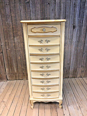 French Provincial LINGERIE CHEST Mid Century white vintage Dixie tall dresser 70