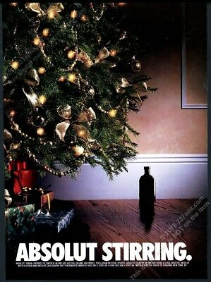 1994 Absolut Stirring vodka bottle as mouse hole Christmas tree vintage print ad