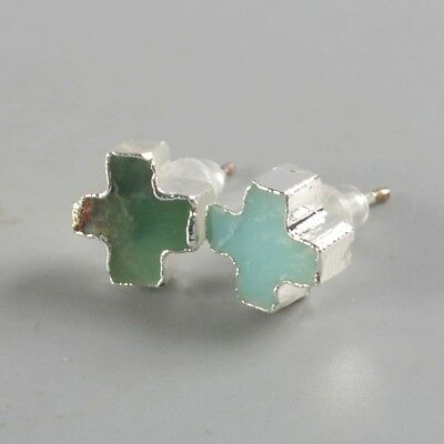 9mm Cross Australia Natural Chrysoprase Stud Earrings Silver Plated B076246