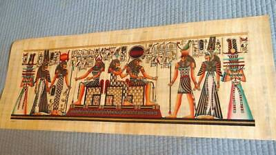 """Huge Signed Handmade Papyrus Egyptian Kings Museum Art Painting...32""""x12"""" Inches"""