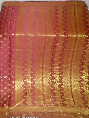 Heavy Vintage Art Silk Sari Weaving Woven Fabric Change Color in Light saree