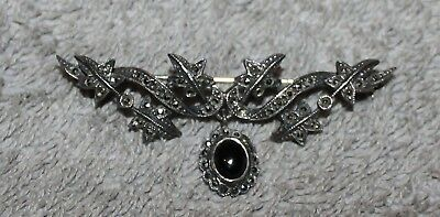 Antique Victorian Sterling Silver Marcasite Brooch With Onyx