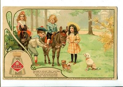 Advertising Gloy Adhersive Children Riding Donkeys c.1907