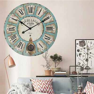 58cm Antique Vintage Style Clock Extra Large Shabby Chic Swing Wall Clock