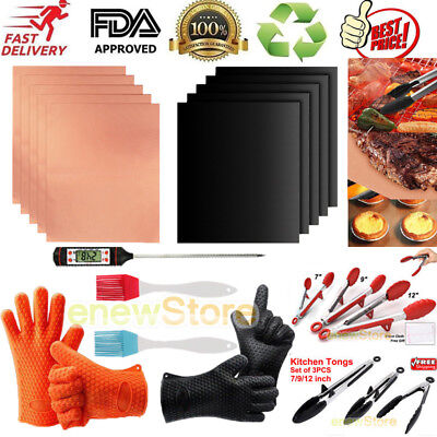 5 Kind of BBQ Equipment--BBQ Grill Mat+Grill Tongs+Brush+Thermometer+Grill Glove