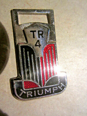 Vintage Enameled Triumph Tr 4 Watch Fob In Very Good Condition