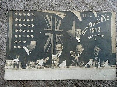 White Star Line Postcard Shipping 'oceanic' 1912 New Yr Eve Original Genuine
