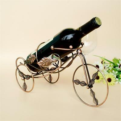 Metal Tricycle-shaped Red Wine Stand Rack Bottle Storage Holder Shelf Home Decor