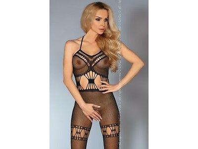 Sexy LivCo Netz Catsuit Lara Schwarz S-L Body Stocking Fishnet Reizwäsche Damen