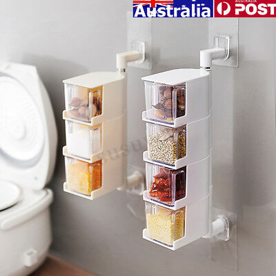 Multi-layer Seasoning Storage Box Wall Hanging Rotary Spices Condiment Boxes AU