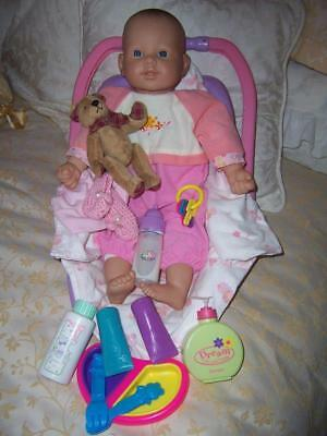 Lot Sum Sum Berenguer Era Baby Doll Vinyl Soft Body Outfit Carry Basket Items