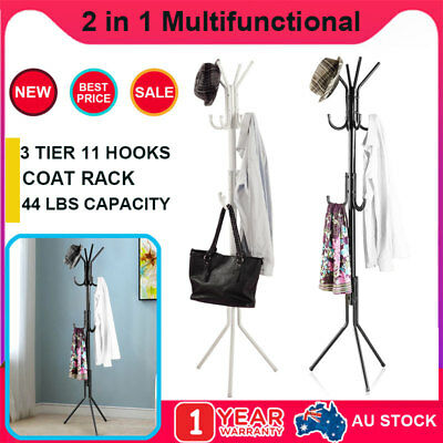 11 Hooks 3 Tier Coat Stand Rack Hat Hanger Umbrella Clothes Tree Metal Storage