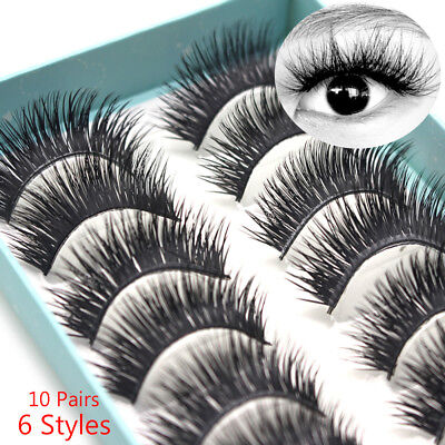 10 Pairs Thick Long Fluffy Wispy Lashes Makeup 3D Faux Mink Hair False Eyelashes