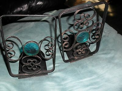 2 Lot Vintage 1960s  Bookends  Mid Century Modern Black & Turquoise Clear Spears