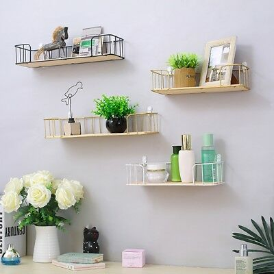 Home Wall Shelf Wrought Iron Partition Frame Wall Hanging Bookcases Storage Rack