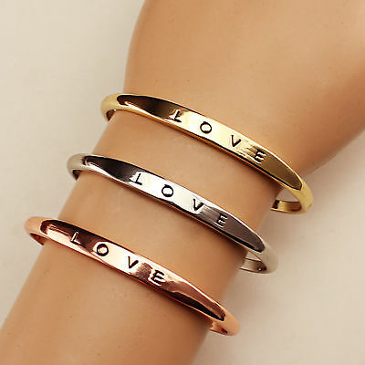 Women Stainless Steel Screw Hand Love Wedding Cuff Bracelet Open Bangle Jewelry